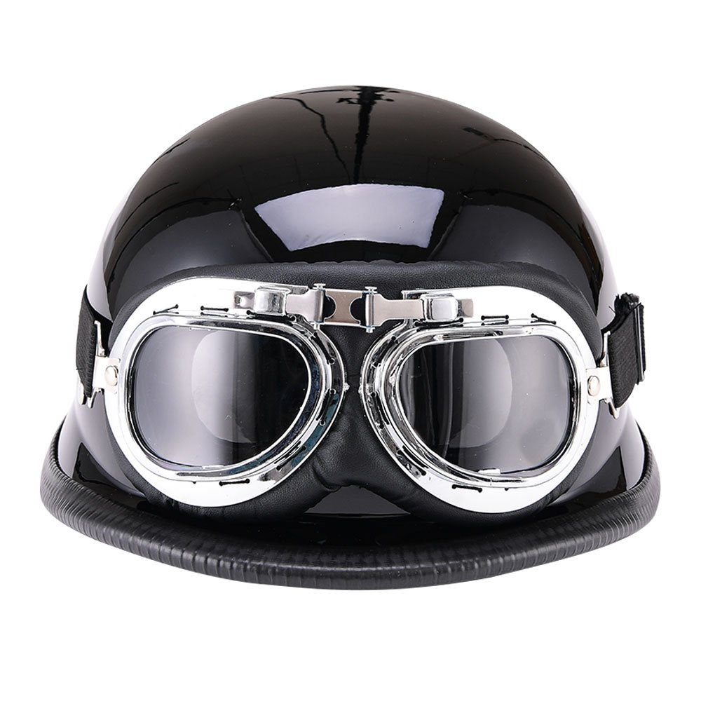 Motorcycle Vintage Open Face Half Helmet with Harley Style Goggles MOFANS WLT03