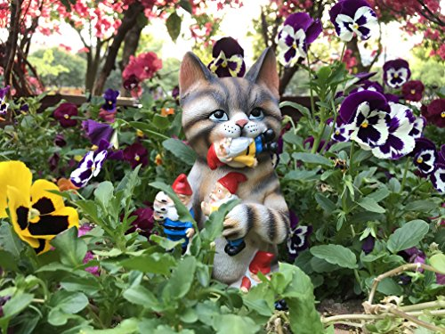 By Mark & Margot - Mischievous Cat Garden Gnome Statue Figurine - Best Art Décor for Indoor Outdoor Home Or Office by Mischievous Cat Massacre (Image #4)