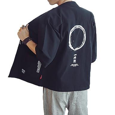 Hao Run Men Japanese Yukata Coat Kimono Cardigan Retro Linen Loose Jacket (Black, US