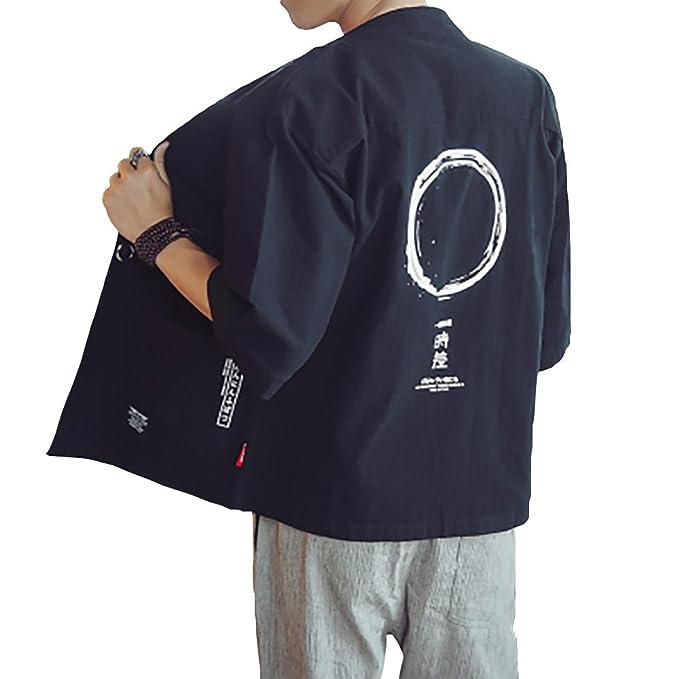 Hao Run Men Japanese Yukata Coat Kimono Cardigan Retro Linen Loose Jacket at Amazon Mens Clothing store: