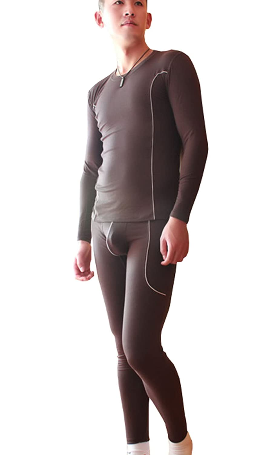 AWEIDS Mens Thin Thermal Underwear Sets Soft Long Sleeve Vest Top And Long Jhons Bottom