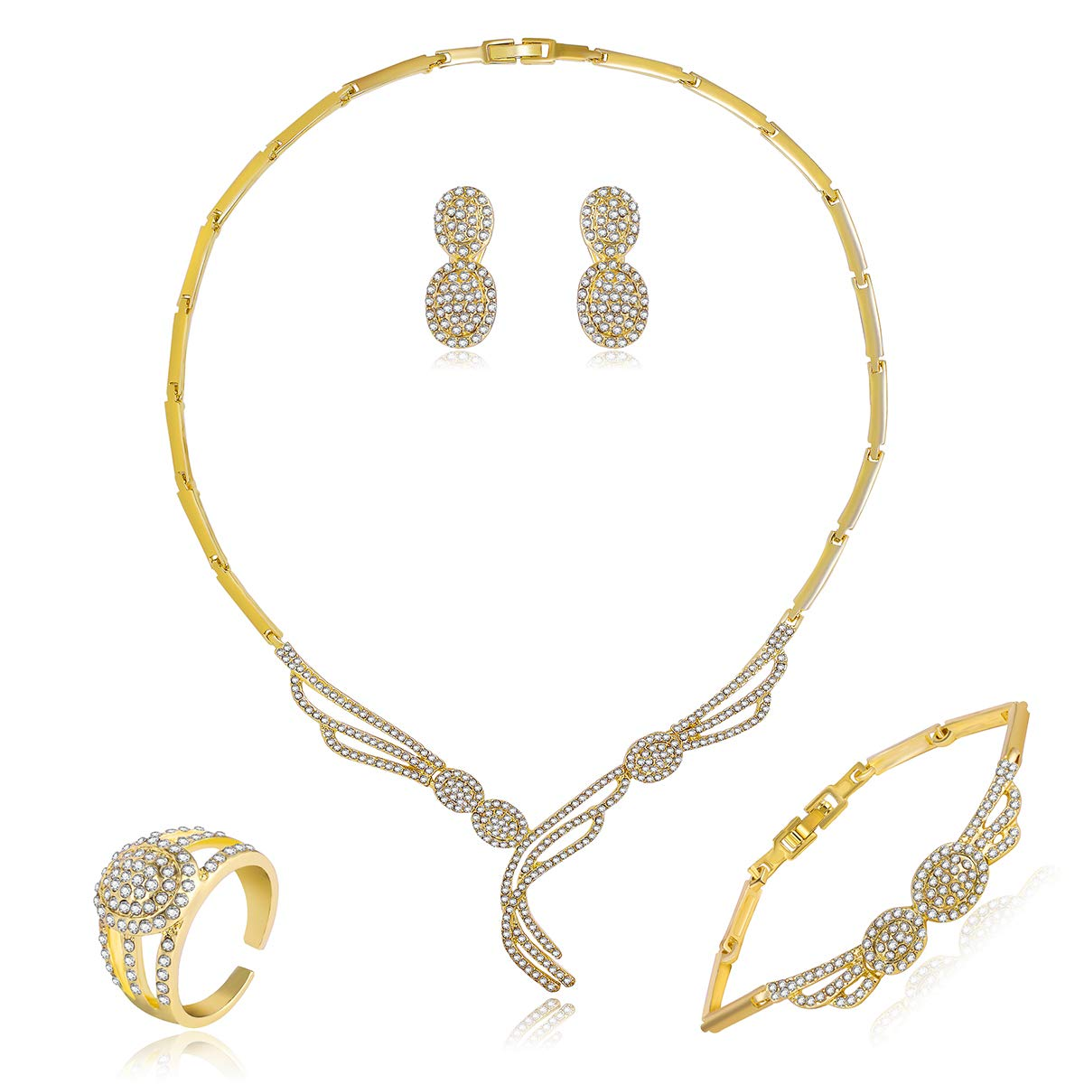 Gold Plated Necklaces Modern Style Crystal Jewelry Set Amazon Co