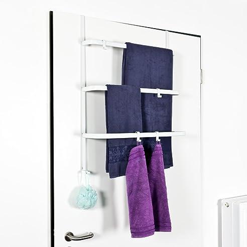 Hängeregal weiß haken  bremermann® Tür-Hängeregal, Tür-Handtuchhalter mit 4 praktischen ...