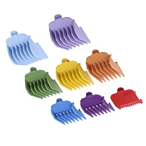 """8Pcs Colorful Professional Hair Clipper Combs Guides #3171-500 – 1/8"""" to 1"""",Attachment Guide Combs,Wahl Replacement Guards Set, Fits for All Full Size Wahl Clippers/Trimmers"""