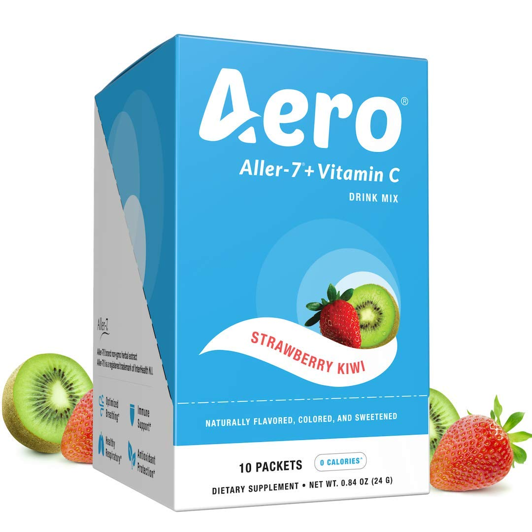 Aero - Allergy Support - Keto, Aller-7, Vitamin C Drink Mix, Vegan | Strawberry Kiwi | Respiratory Health, Lung Cleanse, Immune Support, Nasal Congestion, Cold & Flu | 10 Servings