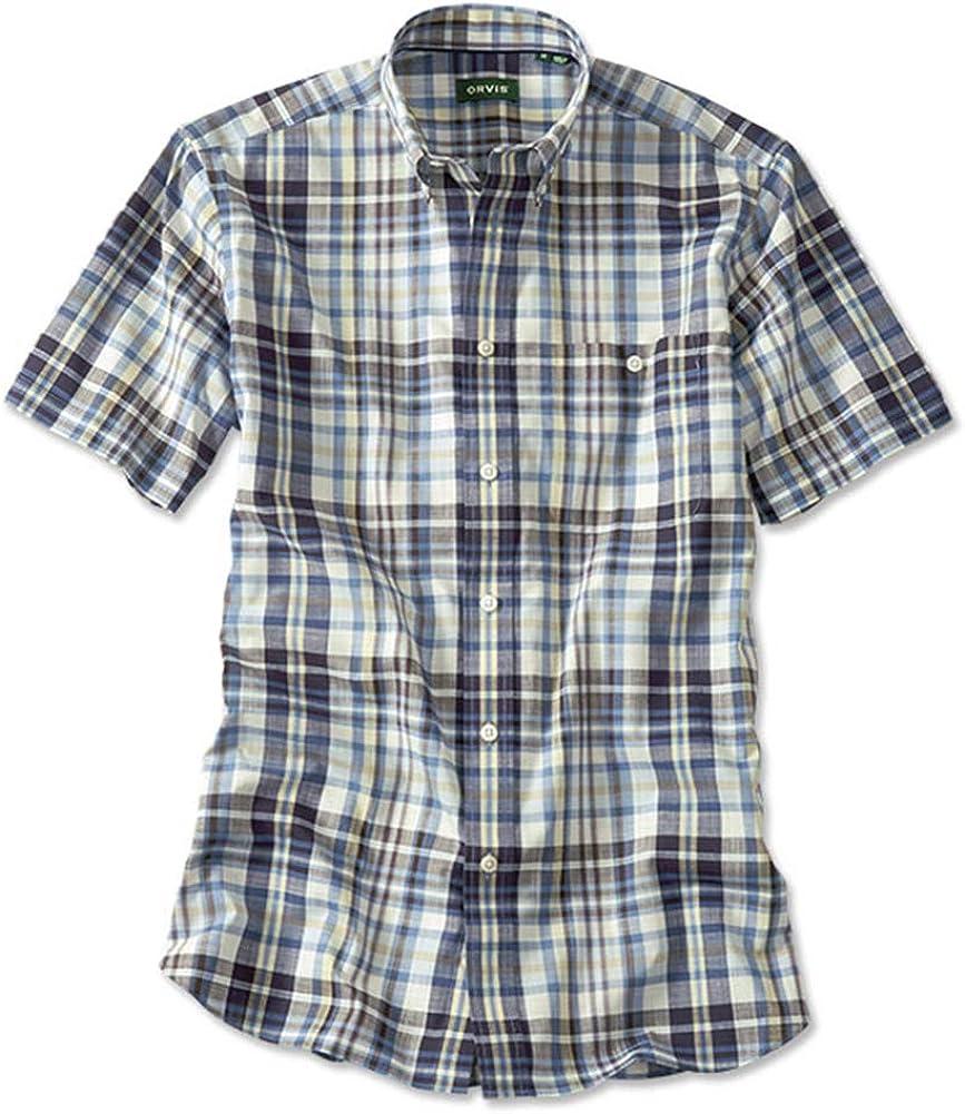 Midnight Plaid Medium Orvis Mens Ez-Cool Wrinkle-Free Slub Short-Sleeved Shirt