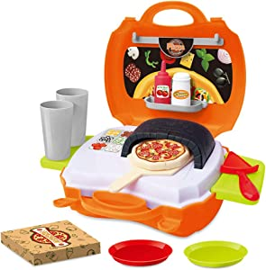 BeebeeRun 21 Piece Pizza Set for Kids,Play Food Toy Set,Great for a Pretend Pizza Party,Toddlers Pretend Food Playset