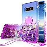 SOGA Rhinestone Glitter Bling Liquid Floating Quicksand Cute Phone Case Compatible for Samsung Galaxy Note 8 Case with Embedded Metal Ring for Magnetic Car Mounts Include Lanyard - Purple on Blue