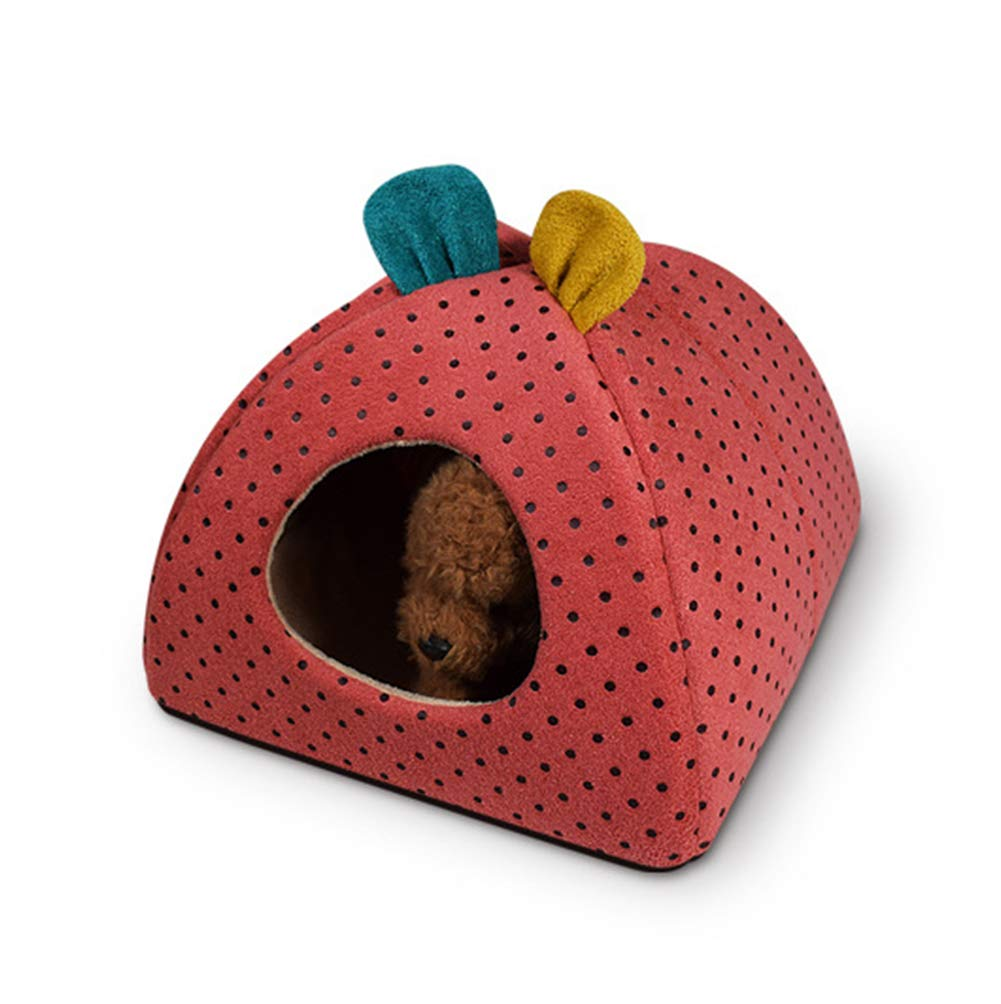Red Medium Red Medium Pet Dog cave Bed Cat cave Bed Pearl Velvet Filled with high Rebound Sponge