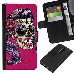 Stuss Case / Funda Carcasa PU de Cuero - Gafas de sol rosadas Cráneo divertido Metal Rock - LG G2 D800