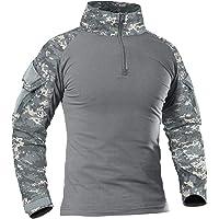 KEFITEVD Heren Slim Fit Militair Tactisch Shirt met lange mouwen 1/4 Voorkant Zip Camouflage Airsoft Shirts Outdoor…
