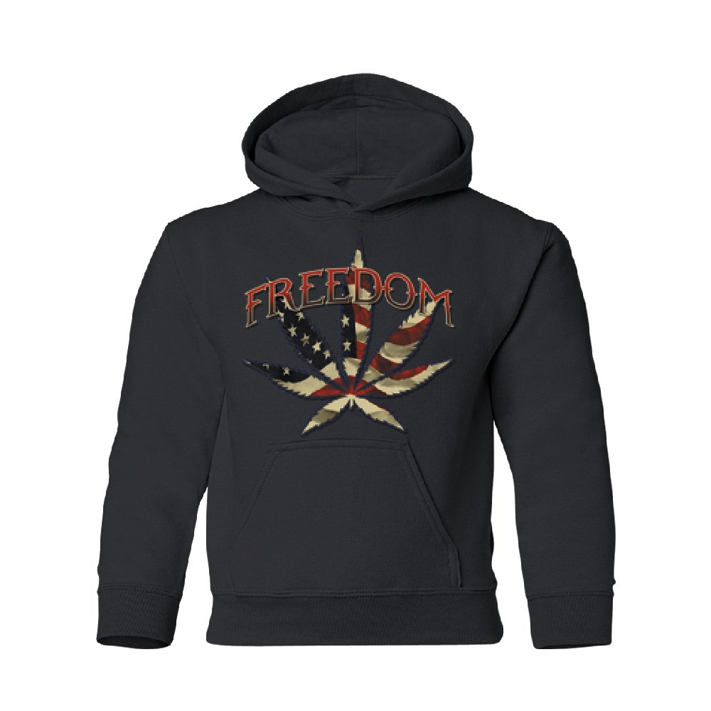 American Flag Freedom 420 Leaf Youth Hoodie Brand New Sweatshirt Black Youth X-Small by Zexpa Apparel (Image #1)