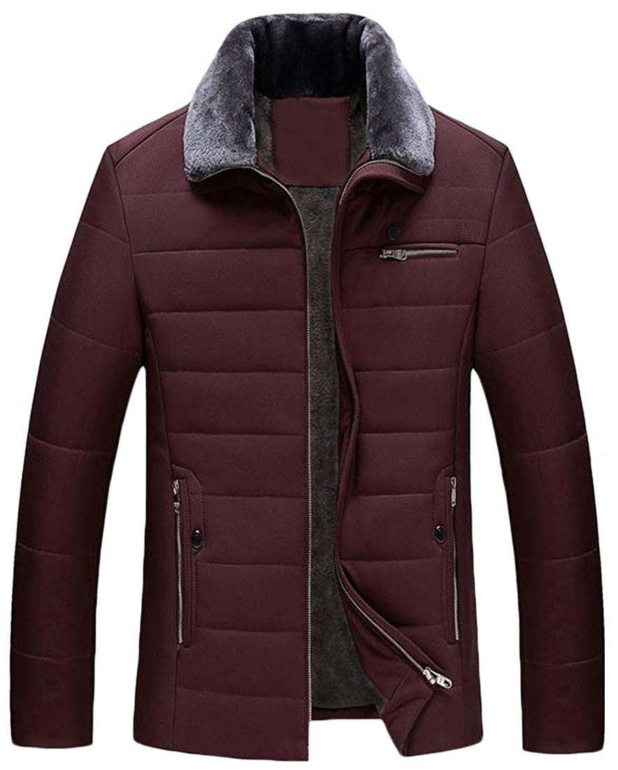Sweatwater Mens Winter Lapel Outwear Quilted Thick Fleece Parka Coat Jacket