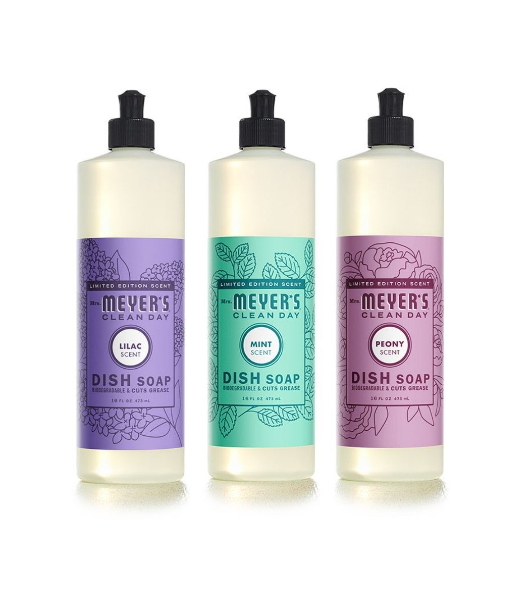 Mrs. Meyers Limited Edition Spring Dish Soap Bundle: 3 items - (1) Lilac Dish Soap, (1) Mint Dish Soap, (1) Peony Dish Soap