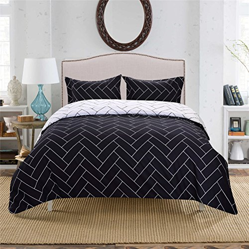 OREISE Duvet Cover Set With Zipper Closure Navy Black And Wh