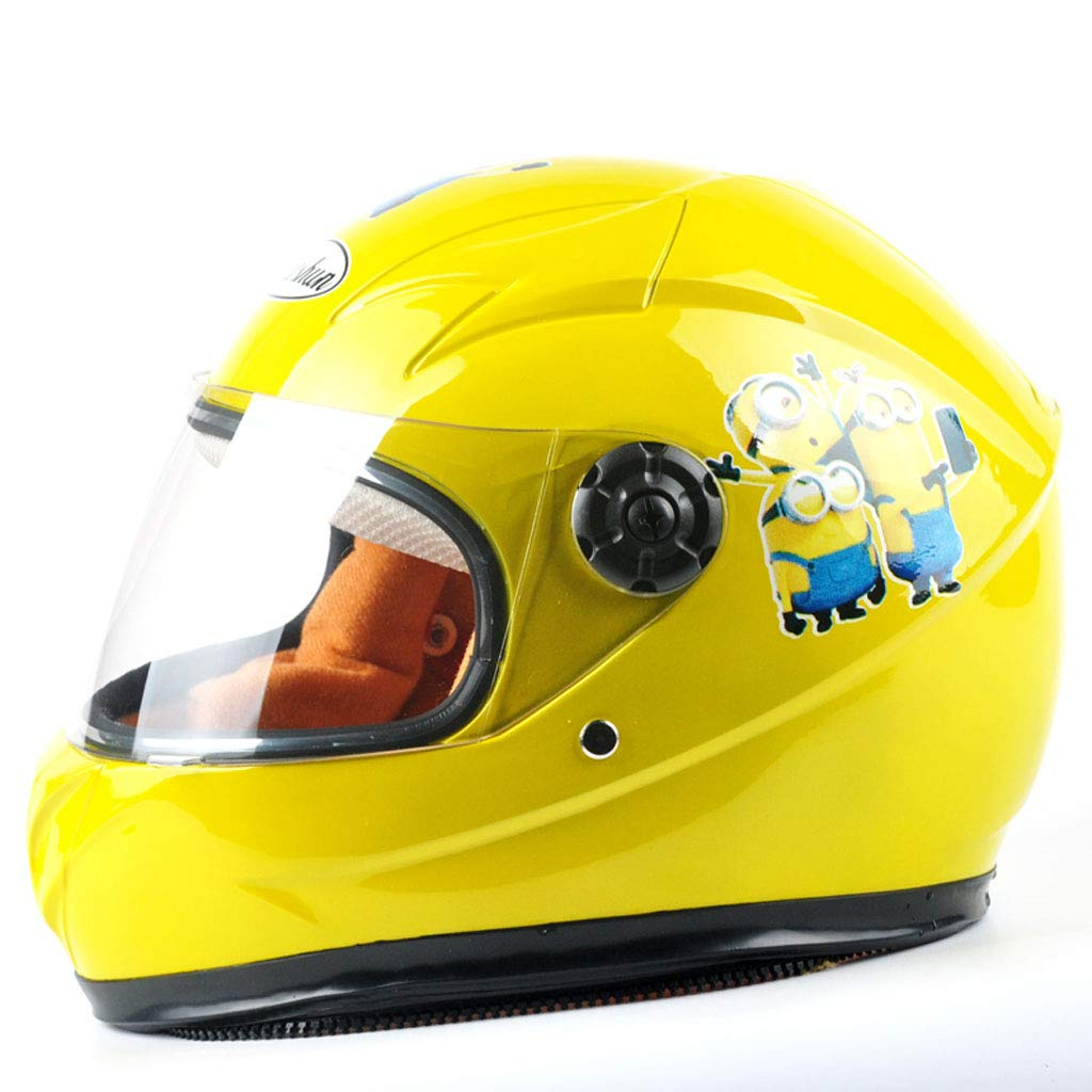 ZDD Kinderhelm Elektro Moped Jungen und Mädchen Geeignet für Kinder im Alter von 6-10 (Farbe : Gelb)