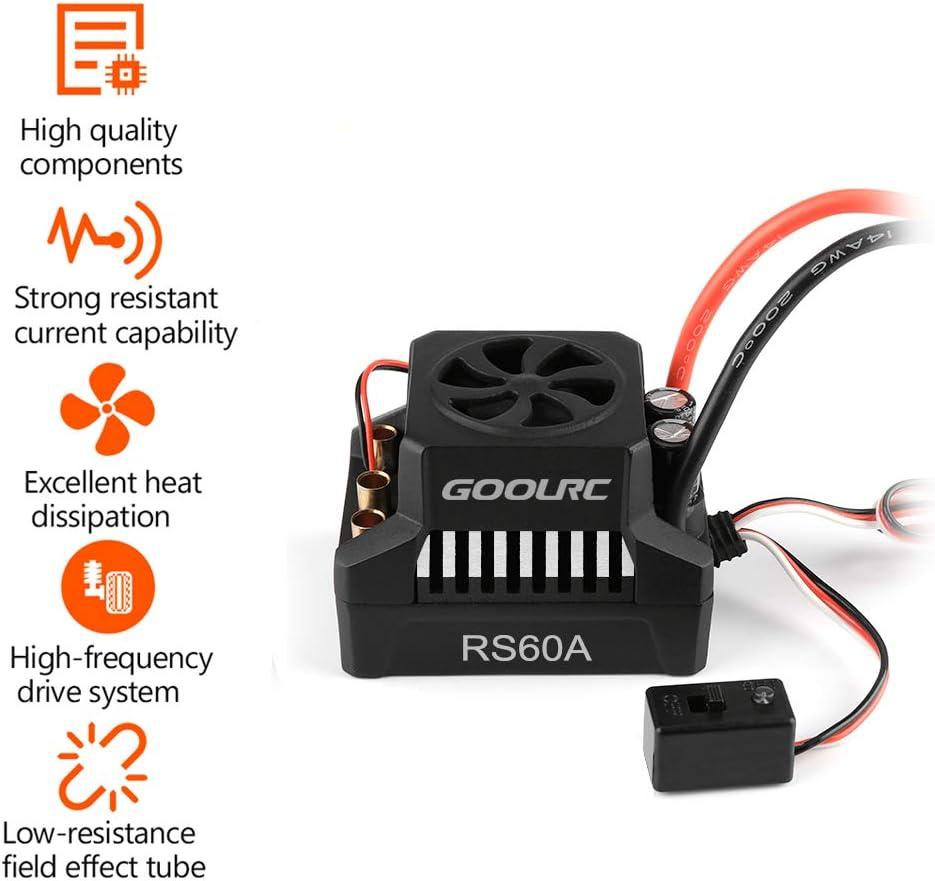GoolRC 3650 3900KV Brushless Motor 60A ESC Brushless Electronic Speed Controller 6V//3A BEC for 1//10 1//8 RC Car Crawler Truck