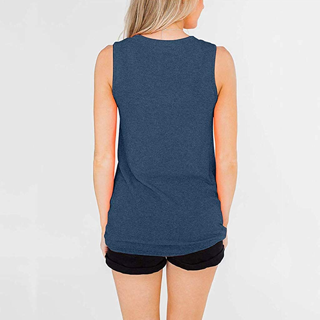 ZXjymll//~ Women V Neck Tunics Striped Colorblock Shirts Knot Twist Front Blouse Sleeveless Tops