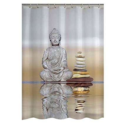 Whitelotous 3D Buddha Printing Shower Curtain