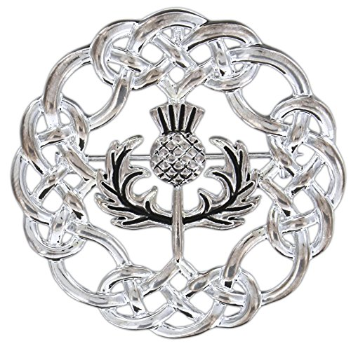 (Quantum Silver-Plated Pewter Pin/Pendant (Celtic Knotwork Thistle))
