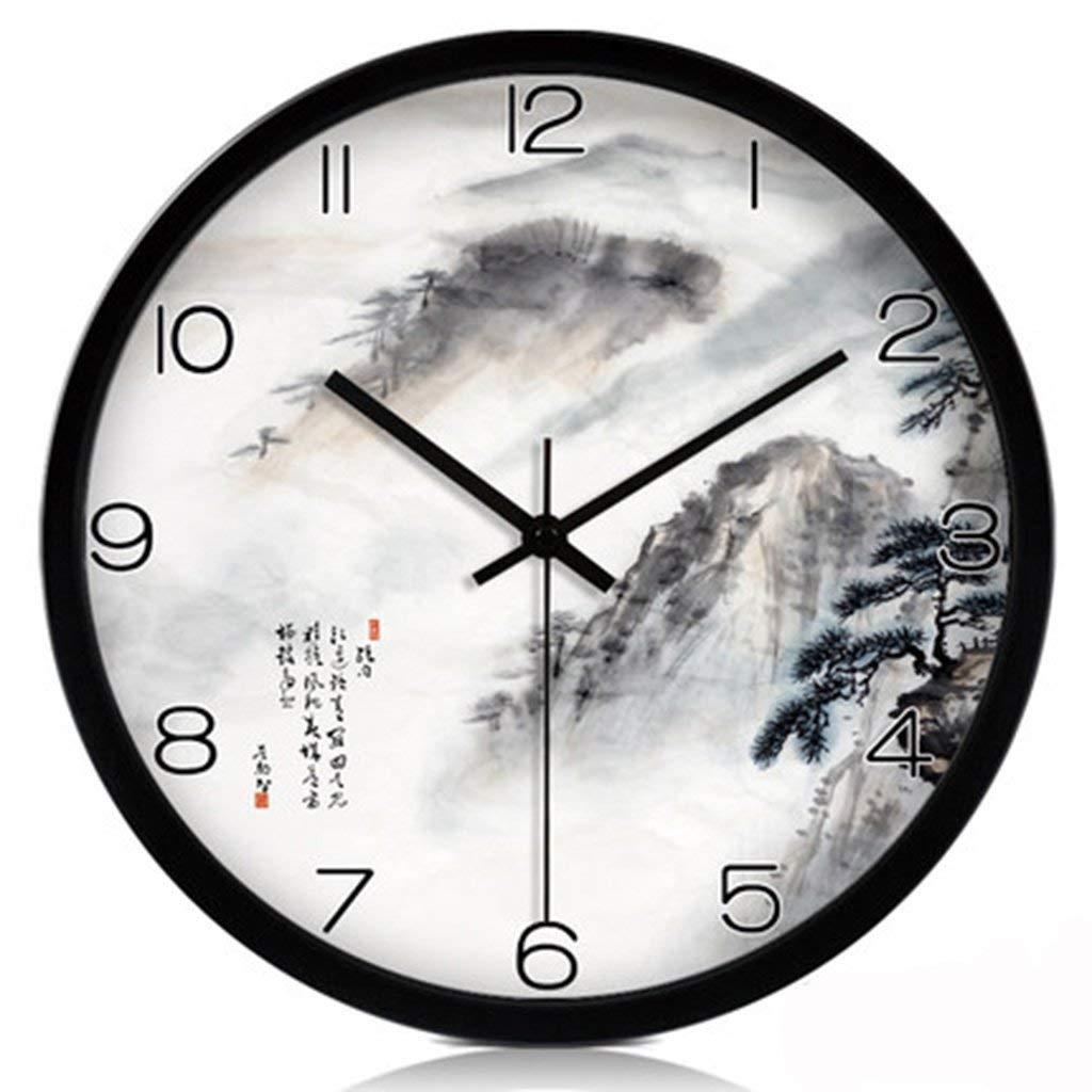 están haciendo actividades de descuento YNMB KS Salón Reloj de Parojo Reloj de Cuarzo de de de Moda Silencio Creativo Paisaje Reloj Reloj de Parojo Negro, Talla   M  bajo precio