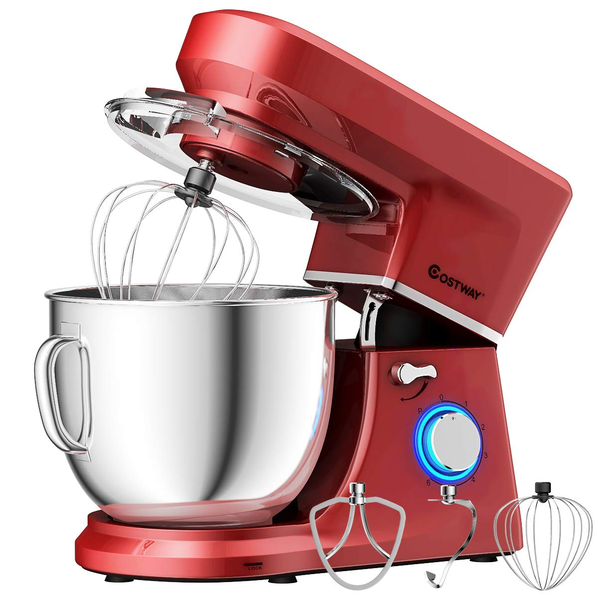 COSTWAY Stand Mixer, 660W Tilt-head Electric Kitchen Food Mixer with 6-Speed Control, 7.5-Quart Stainless Steel Bowl, Dough Hook, Beater, Whisk (Red-update) by COSTWAY (Image #1)