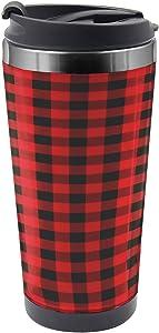 Ambesonne Plaid Travel Mug, Retro Lumberjack Buffalo, Steel Thermal Cup, 16 oz, Orange Black