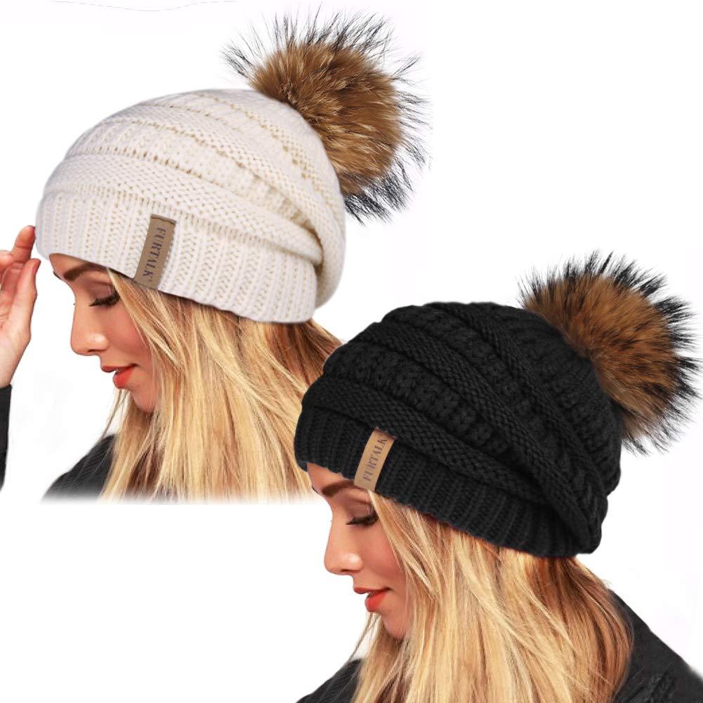 Womens Winter Knit Beanie Hat Slouchy Skull Cap Real Fur Pom Pom Hats Cap For Girls Double Layer Warm FURTALK Original (Black/Beige 2PCS) by FURTALK