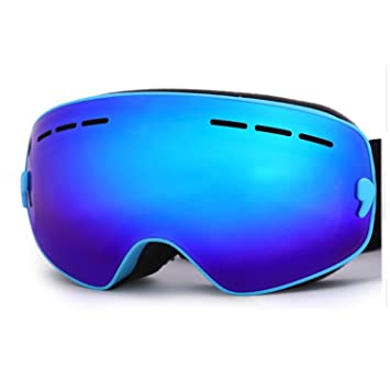 4c4a747fd994 Hicool Kids Ski Snow Skate Snowboard Snowmobile Goggle with Mirrored Lens -  Anti-Fog UV Protection Detachable Wide Spherical Goggle Lens (Blue Blue)   ...