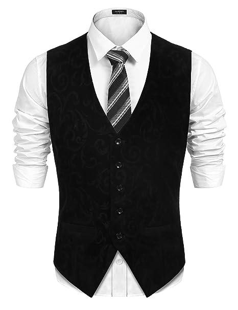 67aef612231 Coofandy Mens Swirl Jacquard Waistcoat Velvet Retro Paisley Floral  Patterned Suit Vests Black