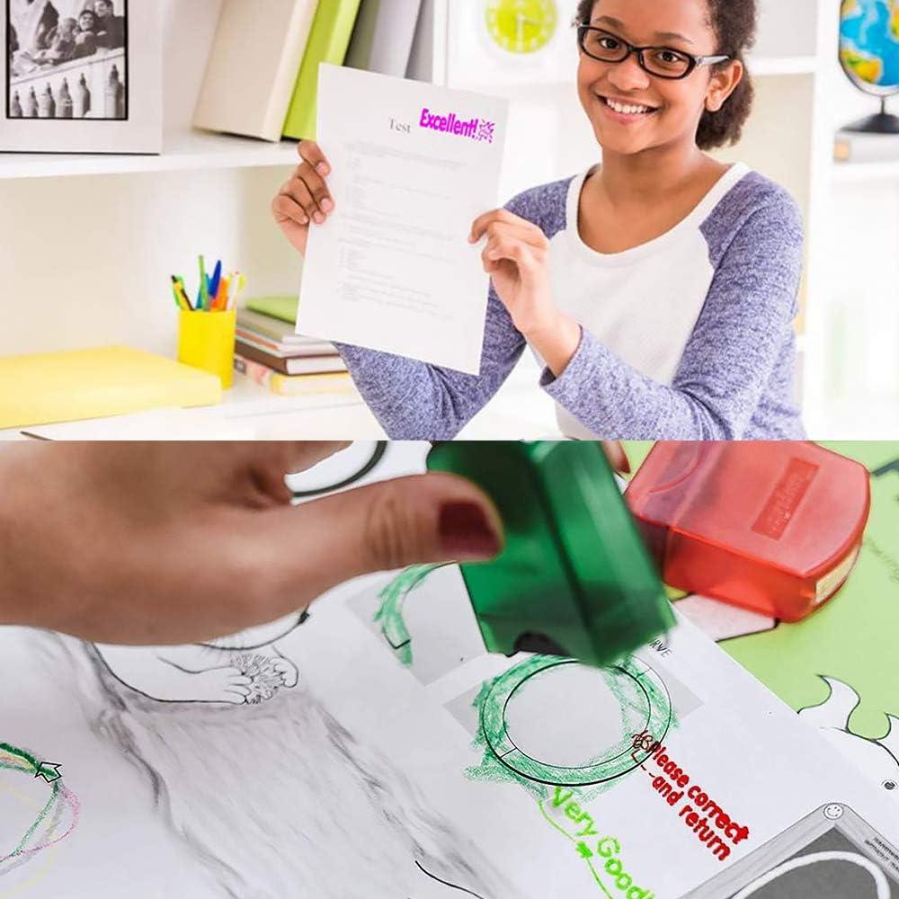 8 pezzi colorati Timbro per insegnante di scuola di motivazione autoinchiostrante impostato per incoraggiamento di classificazione in classe Gobesty Timbro di gomma autoinchiostrante