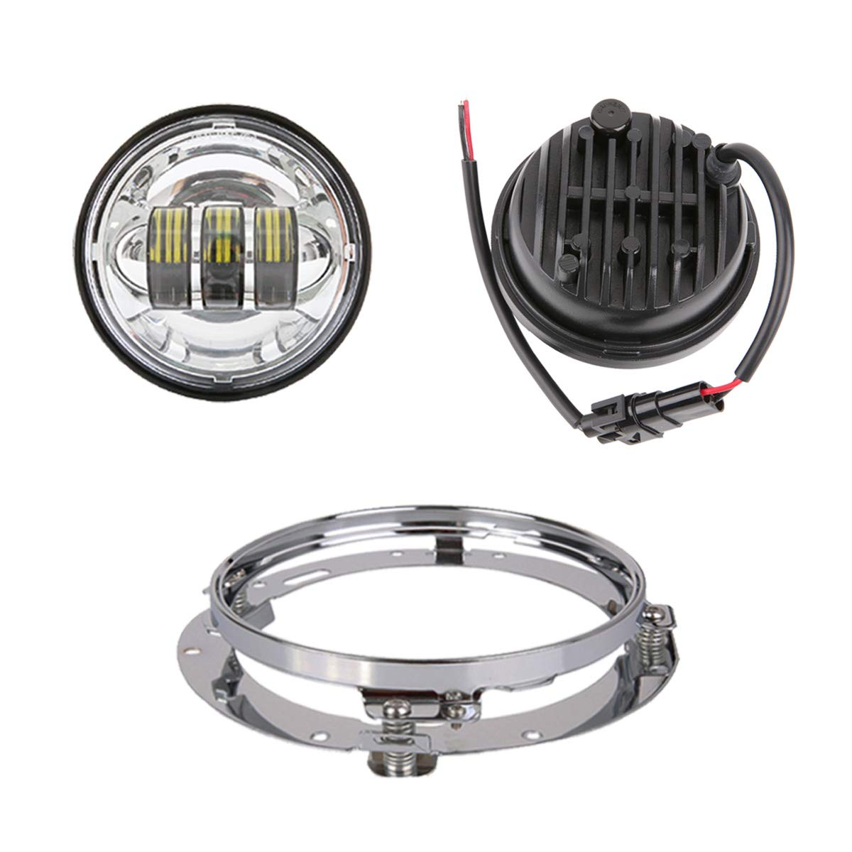 Z-OFFROAD 7 inch LED Headlight Fog Passing Lights Motorcycle Headlamp for Harley Davidson Touring Road King Ultra Classic Electra Street Glide Heritage Softail Slim Deluxe Tri Cvo Fatboy Z-018800E
