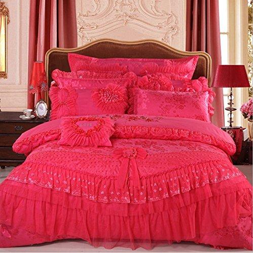 LELVA Luxury Lace Princess Bedding Rose Red Wedding Bedding Princess Bedding Korean Designer, Girl Red Ruffle Bedding Set 4pcs / 6pcs / 8pcs / 10pcs Queen / King Size (4(10pcs), (8pcs Queen Bedding)