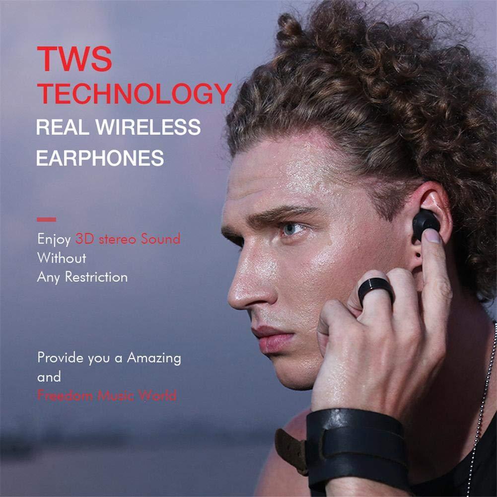 HAVIT TWS G1 トータルショップ ミニ ワイヤレス Bluetooth イヤホン インビジブル スポーツ ヘッドホン 防水 ステレオ イヤホン マイク付き ハンズフリー通話 DI0206901XpTH B07PHX5RHX (black)