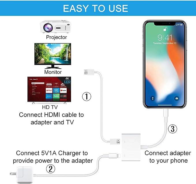YEHUA Adaptador de teléfono a HDMI Convertidor 1080P Digital AV ...