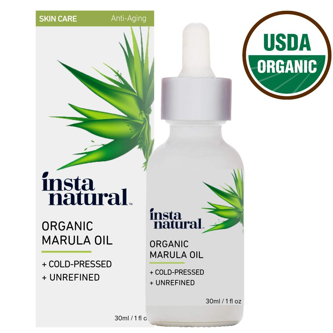 Organic Marula Oil - 100% Pure, Non GMO, Cold Pressed, Unrefined, Moisturizing and Balancing for Hair, Body, Hands or Cuticle & Normal to Oily Skin - Complete Organics by InstaNatural - 1 oz by InstaNatural