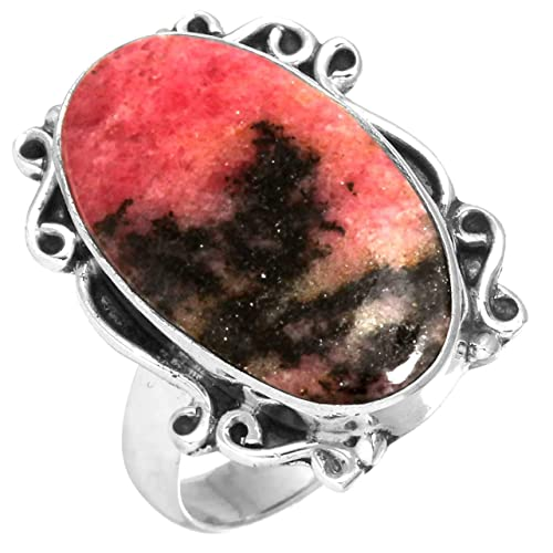 Solid 925 Sterling Silver Ring Natural Pink Rhodonite Black Manganese Gemstone Modern Jewelry Size 5