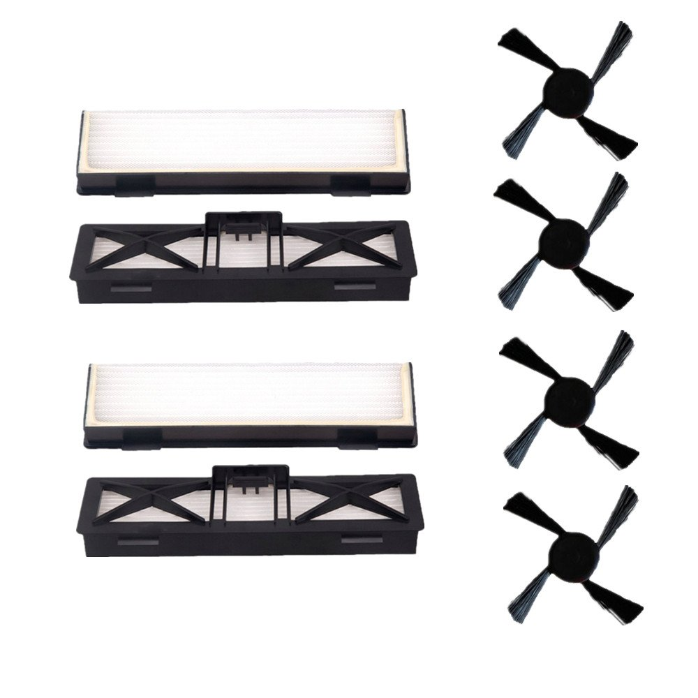 LOVE(TM)4 pcs Replacement Botvac D Series Ultra-Performance Filter + 4 pcs Side Brush For All Botvac Vacuum Cleaner Series 65,70e, 75, 80, 85 robot vacuums 945-0215