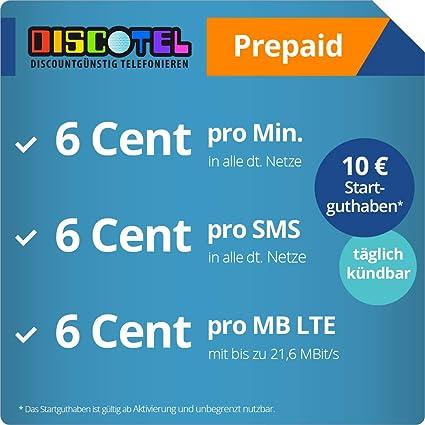 Prepaid Karte Deaktiviert Wieder Aktivieren.Discotel Lte Prepaid 6 Cent Inkl 10 Euro Startguthaben Taglich Kundbar 6 Cent Pro Minute 6 Cent Pro Sms 6 Cent Pro Mb