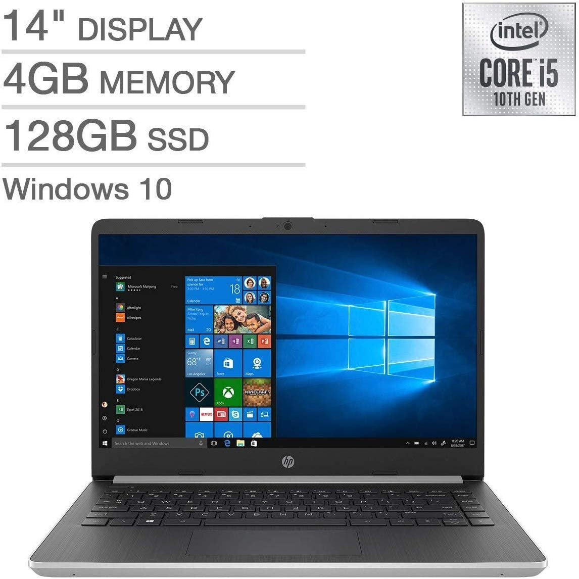 """HP 14"""" FHD IPS Laptop Notebook Computer, 10th Gen i5-1035G4 (up to 3.7GHz), 4GB RAM, 128GB SSD, HDMI, WiFi, Bluetooth, Windows 10 with S Mode"""