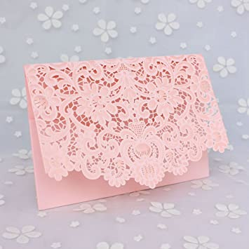 amazon co jp pink 50 pcs exquisite wedding invitations cards