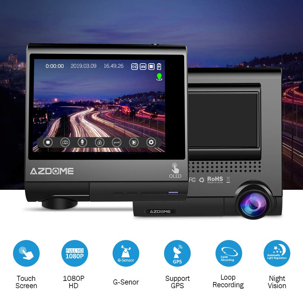 Motion Detection AZDOME 2.45/'/' Car Camera with WiFi WDR,G-sensor Car DVR for Uber//Rideshare//Cab Driver 1080P Super Capacitor Dash Cam Night Vision,170 View Angle,Loop Recording Anti-shaked