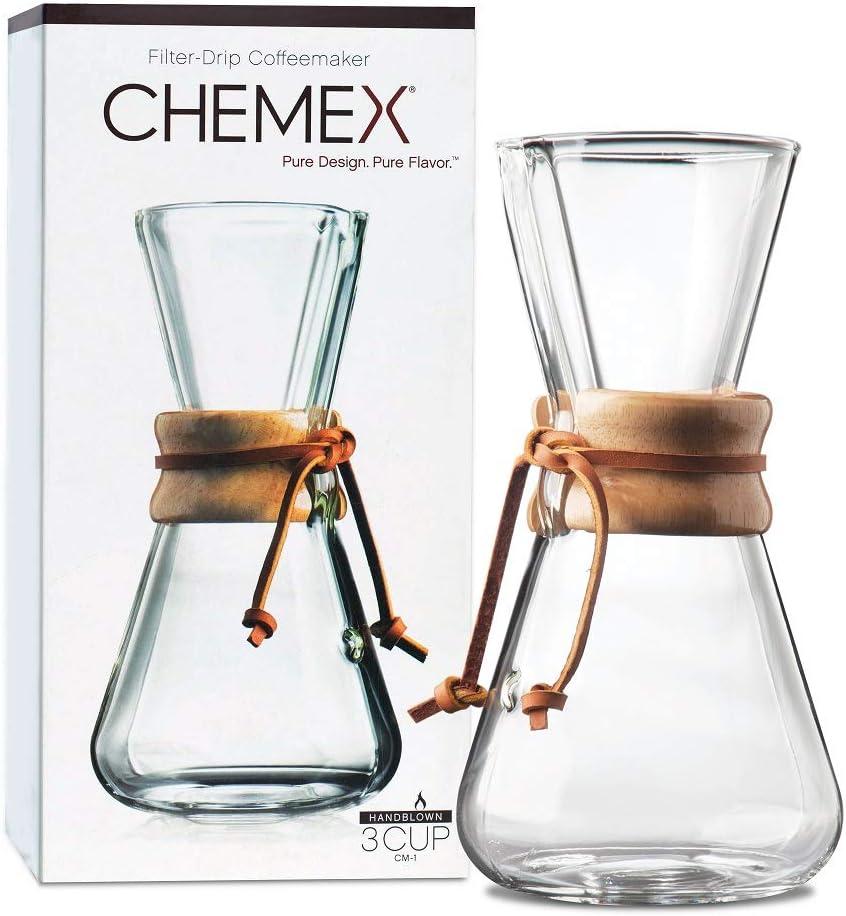 Chemex Hand Blown CM-1   Cafetera Filtro Manual de 1 a 3 Tazas ...