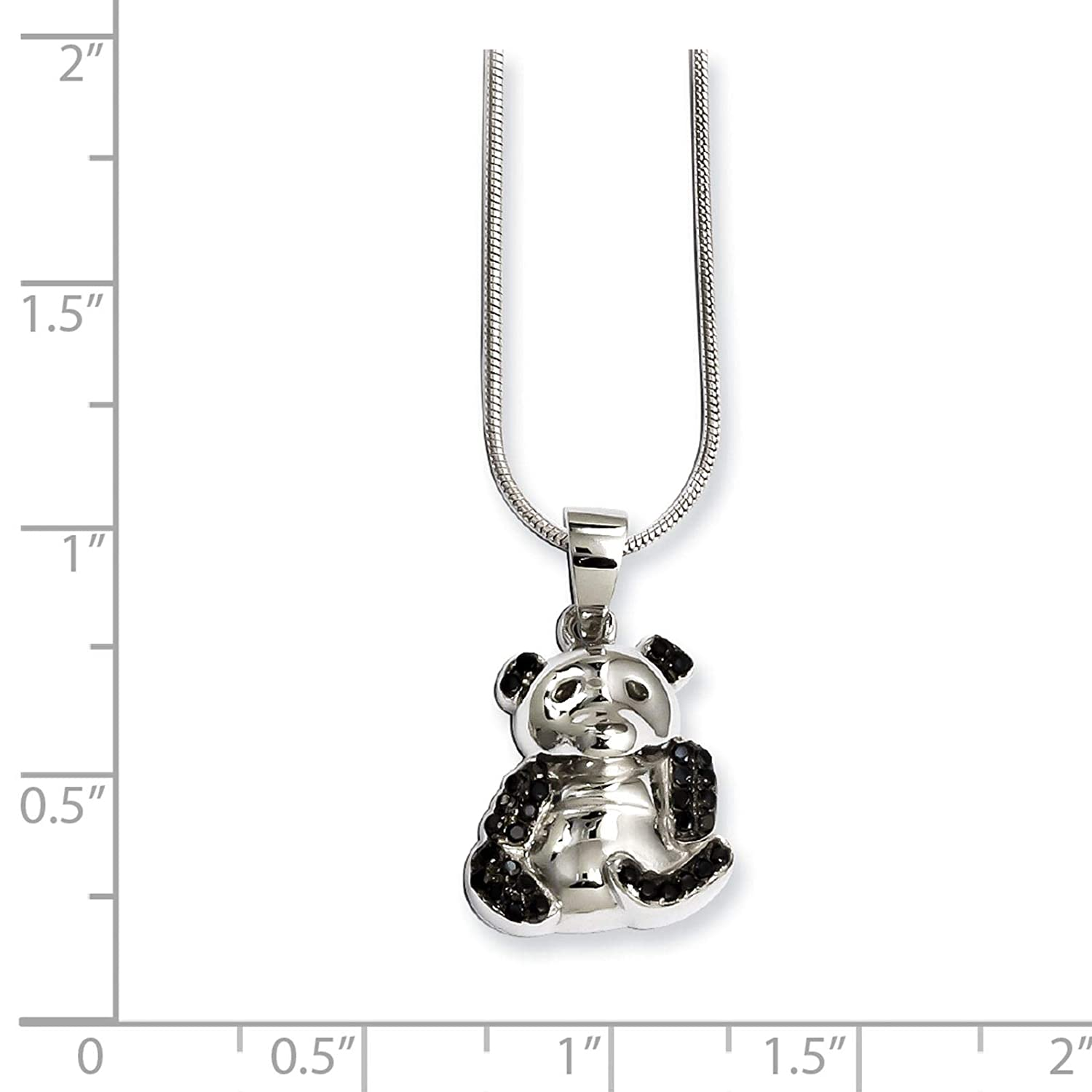 Brilliant Embers Sterling Silver Rhodium-plated Black CZ Bear Pendant Necklace 18 2 Extender