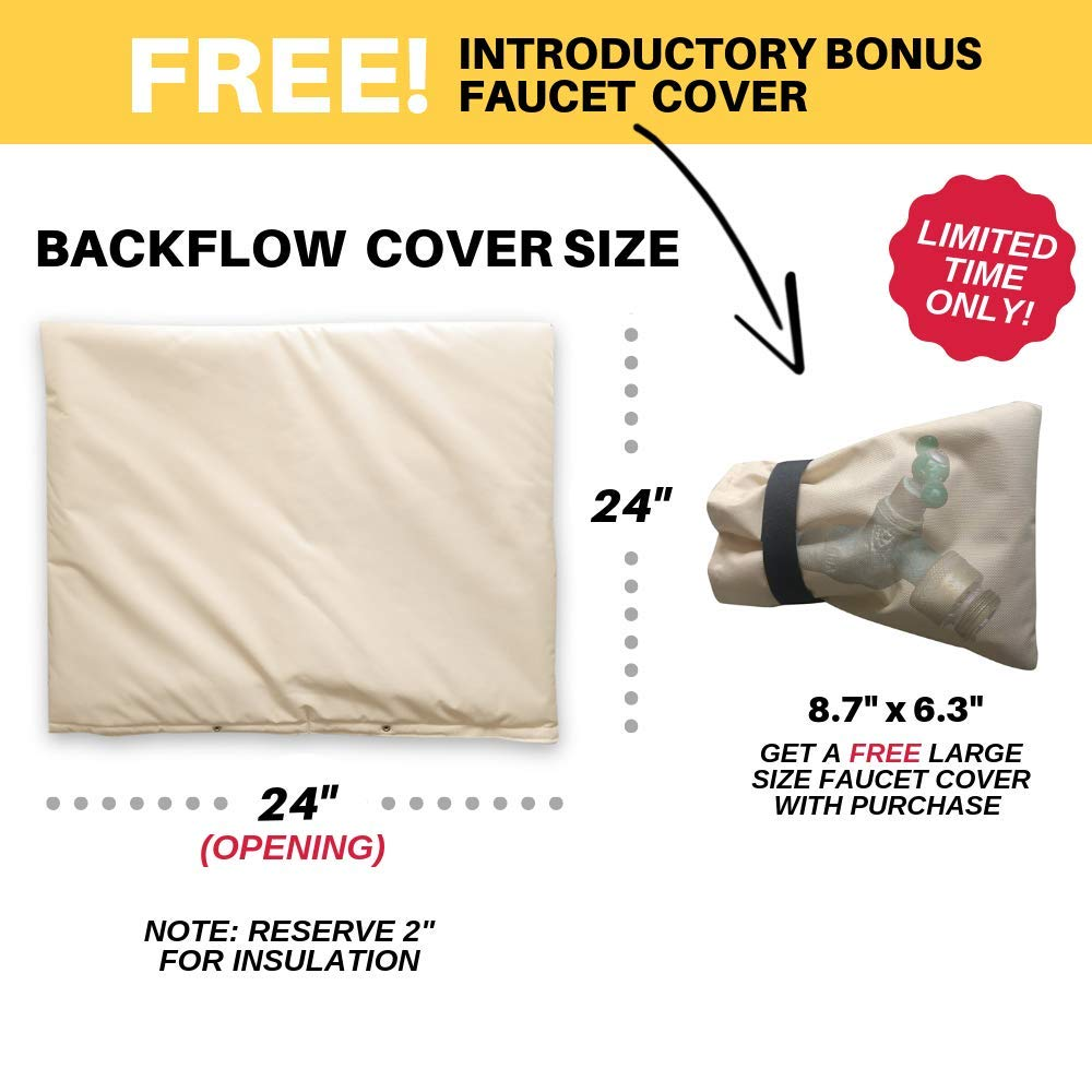 Multi-use Waterproof Pouch for Water Sprinkler Valve Box PHOENIX CABLES USA Pro Outdoor Backflow Preventer Insulation Cover for Winter Pipe Freeze Protection Meter or Controller 36 x 24, Beige