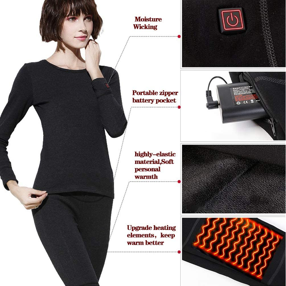 Winter Thermal Long Sleeve Moisture Wicking Elastic Underwear for Men and Women Insulated Heating Underwear Adjustable Charging Heated Carbon Fiber Pants
