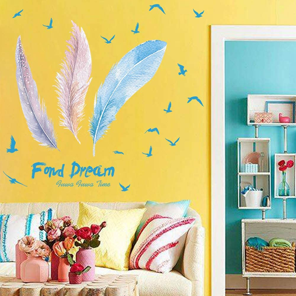Hand-drawn feathers removable wallpaper black and white wall mural self adhesive #157