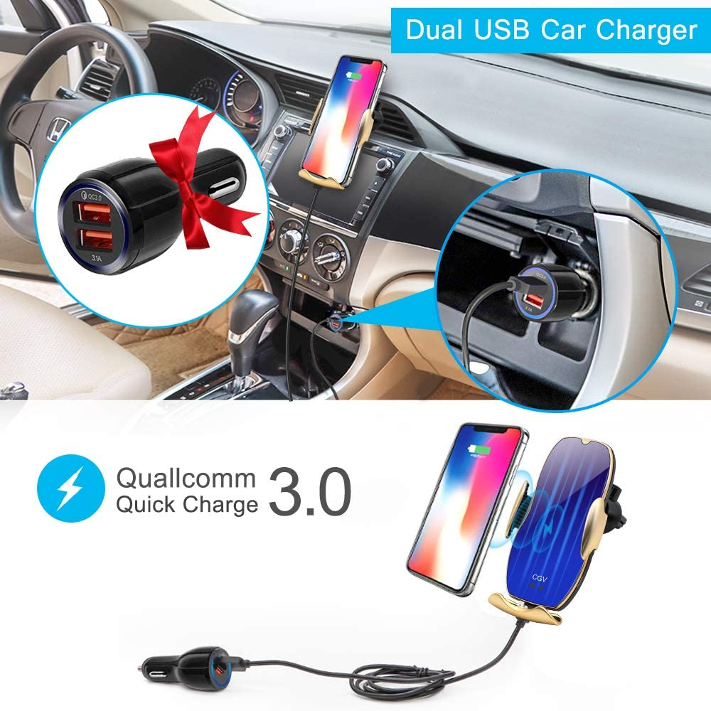 Wireless Car Charger Auto-Clamping Car Mount Air Vent Phone Holder /& QC3.0 Car Charger 10W//7.5W//5W Compatible Galaxy S10//S10+//S9,Charging for iPhone 11//11 Pro//11 Pro Max//XSMax//XS//XR//X//8P