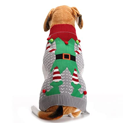 Ugly Dog Christmas Sweaters.Nacoco Christmas Dog Sweater Ugly Elf Pet Jumper Clown Holiday And Party For Dog And Cat