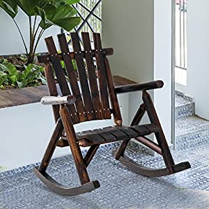 Outsunny Fir Wood Rustic Outdoor Patio Adirondack Rocking Chair Furniture